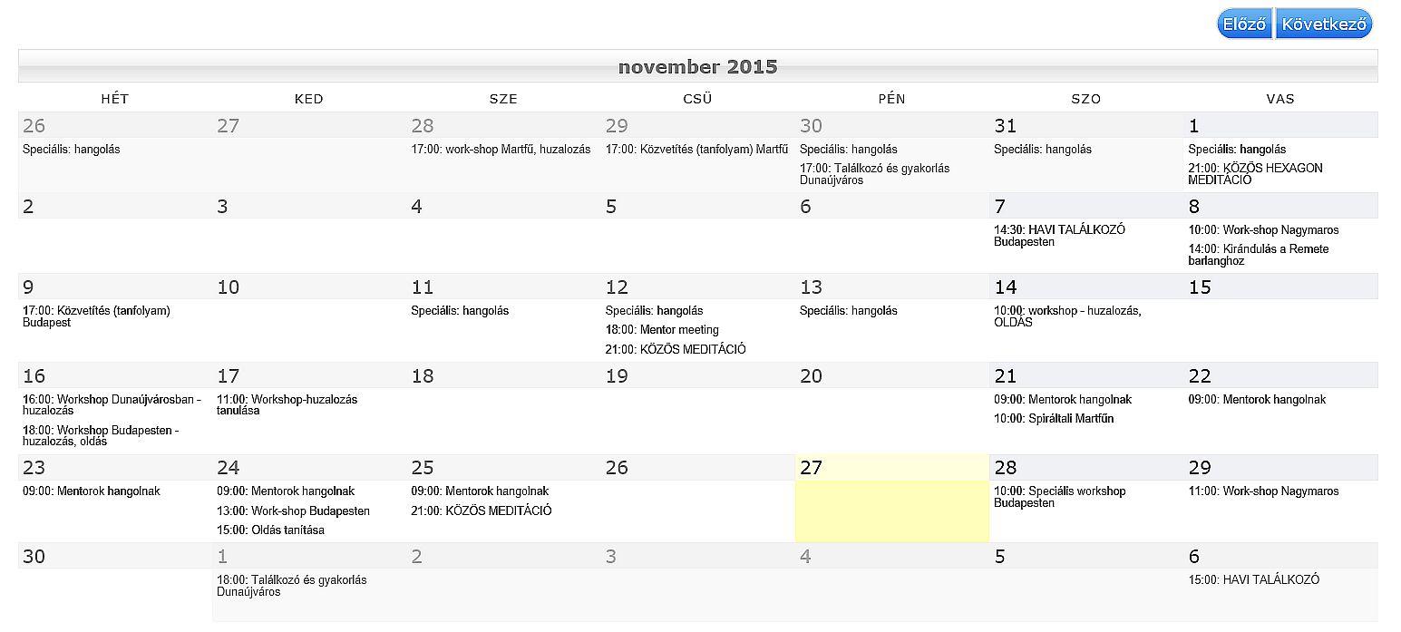 Programok 2015 november